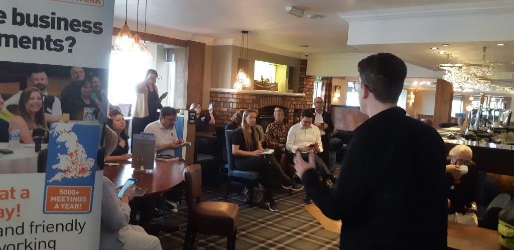 a talk at a networking event